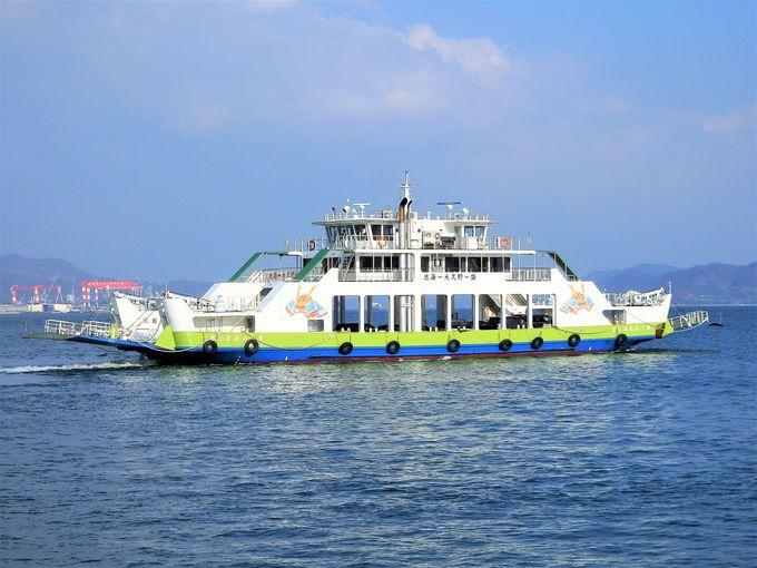 大久野島でのお出迎えは、いきなりうさぎ軍団。