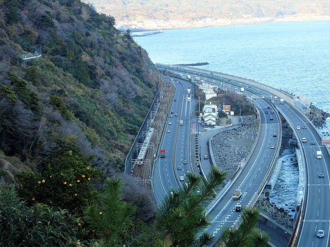 東海道線・国道1号・東名高速の共演も眼下に