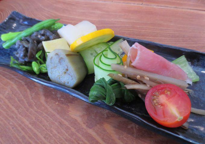新鮮な朝採り日光野菜を使った前菜!野菜の美味しさを再認識!