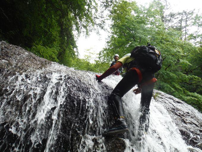 マイナスイオンたっぷり!滝を登るシャワークライミングツアーも!