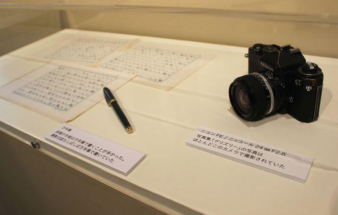 <星野道夫の部屋>星野氏の作品を生み出したカメラや原稿なども展示。