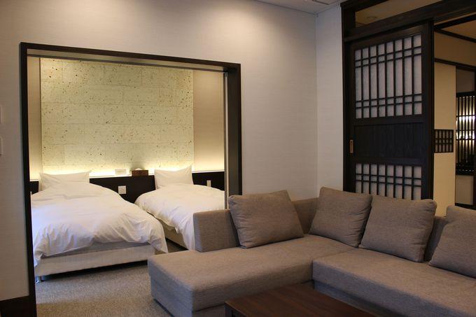 全てのスイートルームが3部屋とバルコニーを持つ広々とした設計!