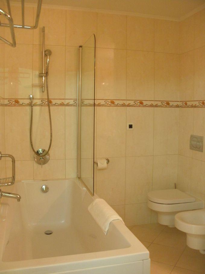 広々としたバスタブつきの浴室