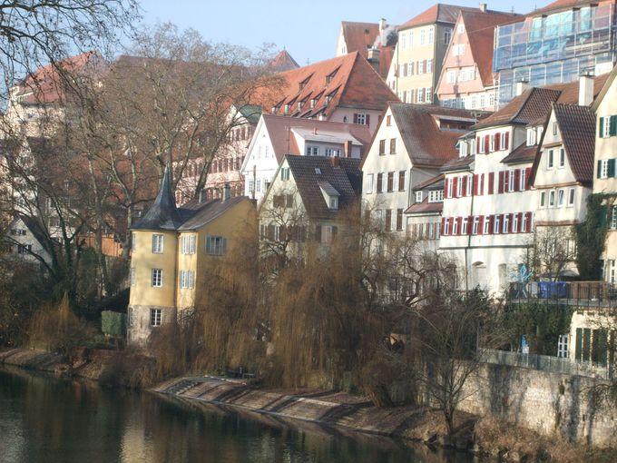 美しい風景の川沿いに建つ「ヘルダーリンの塔」