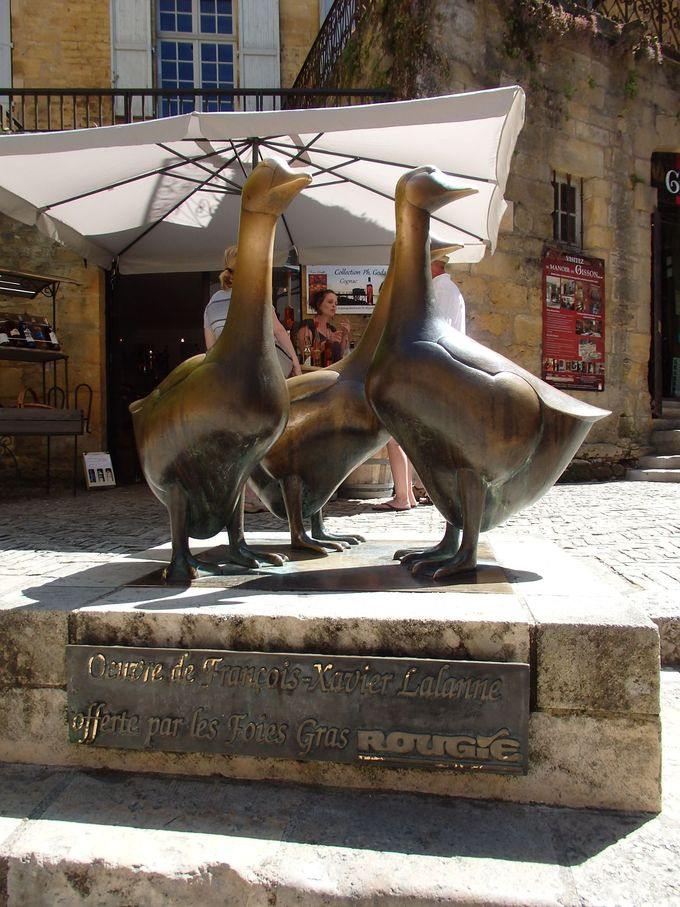 観光客の人気者ガチョウのいる広場