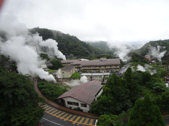泉質の良さを証明する湯煙の景観
