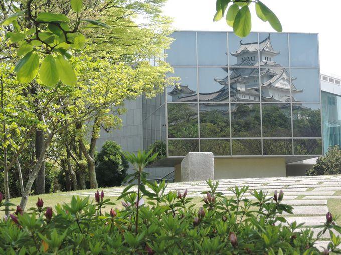 ぜひここは足をのばして!ガラス窓に写る絵画の様な姫路城。