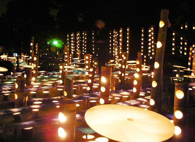 30か所に配置されるオブジェと、城下町中に飾られる2万本の竹灯篭!