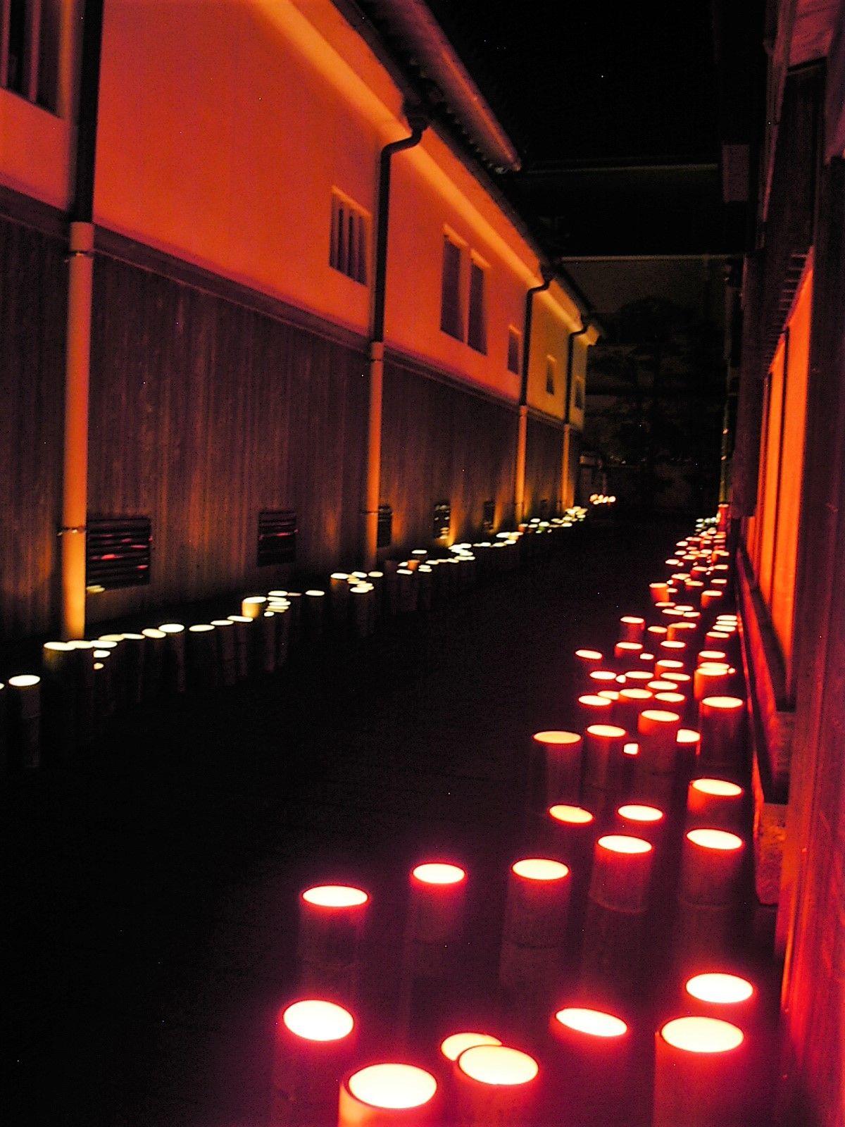 竹灯篭人気スポットその1:仁王座界隈と平清水