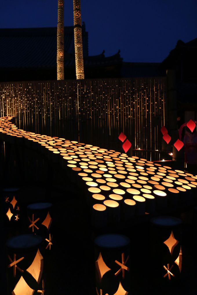 竹灯篭人気スポットその2:多福寺と臼杵城跡