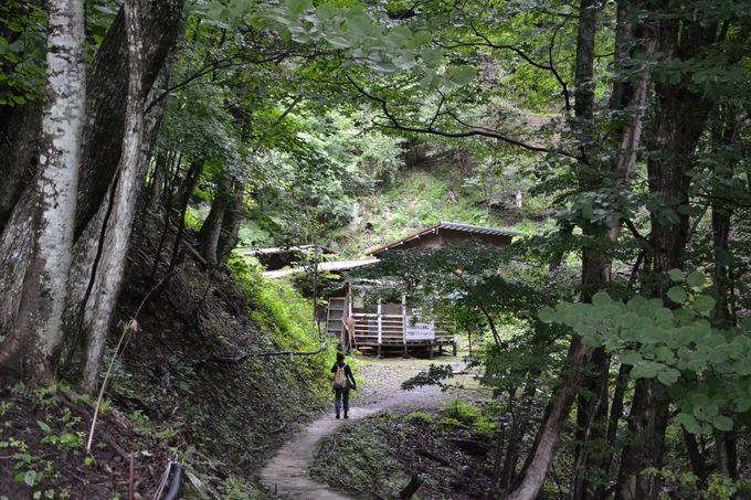 山の奥にある、天然岩風呂へ