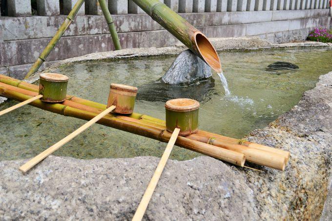 飯田城本丸跡にある神社には温泉の手水が!