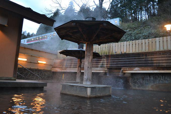 露天の上を電車がビューン!大江戸温泉物語 鳴子温泉「幸雲閣」で楽しい湯めぐり