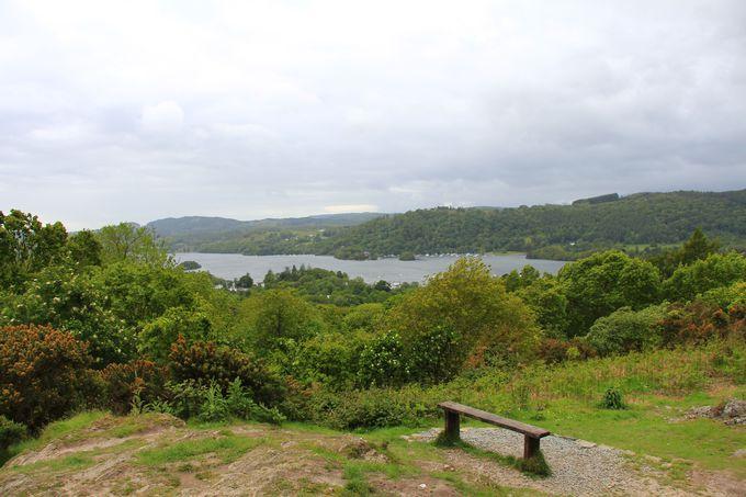 絶景ポイントその2、休憩しながら湖と花々を楽しめる