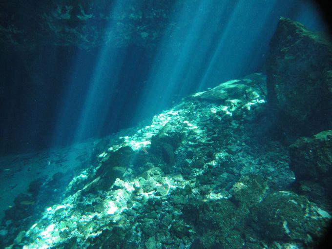 コバ遺跡観光の帰りは、「グランセノーテ」でひと泳ぎ