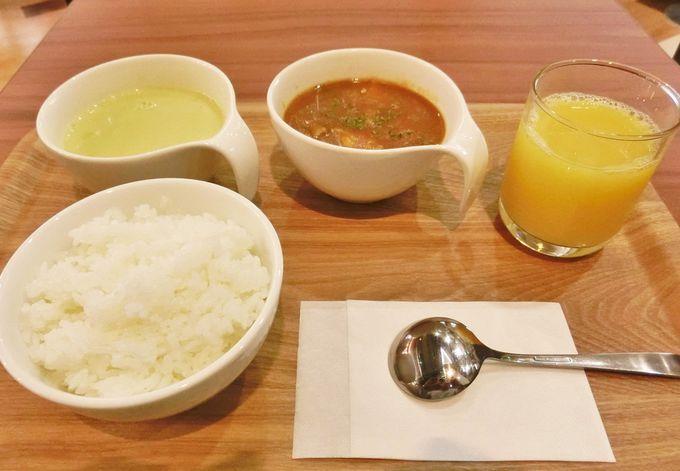 4種類のスープの中から2品を選択する朝食メニュー