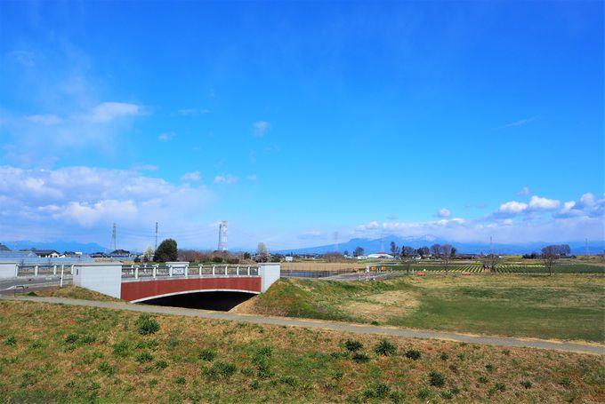 渋沢栄一の像と榛名山や赤城山の稜線