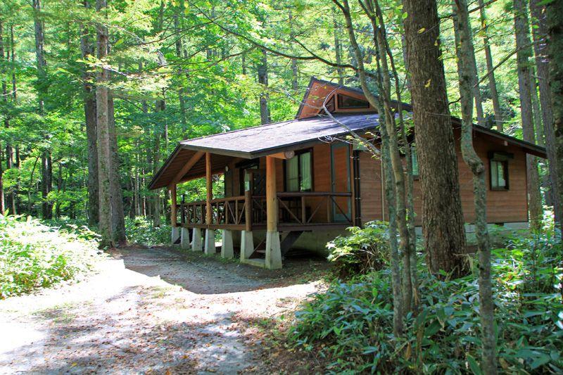 上高地の森の中の隠れ家、ウッディなコテージ