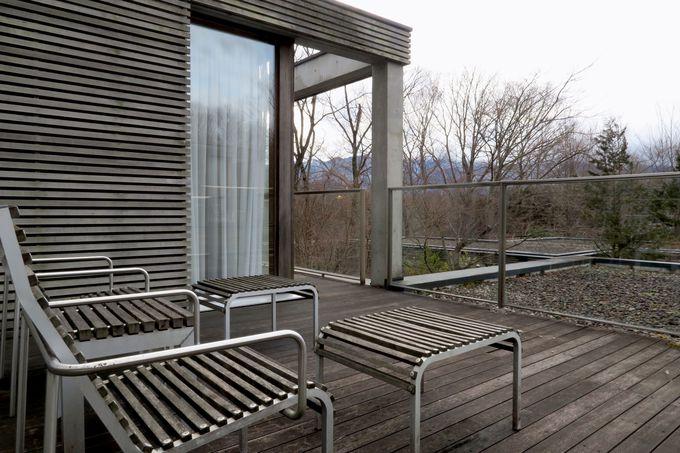2階にあるテラスで、那須の大自然を満喫