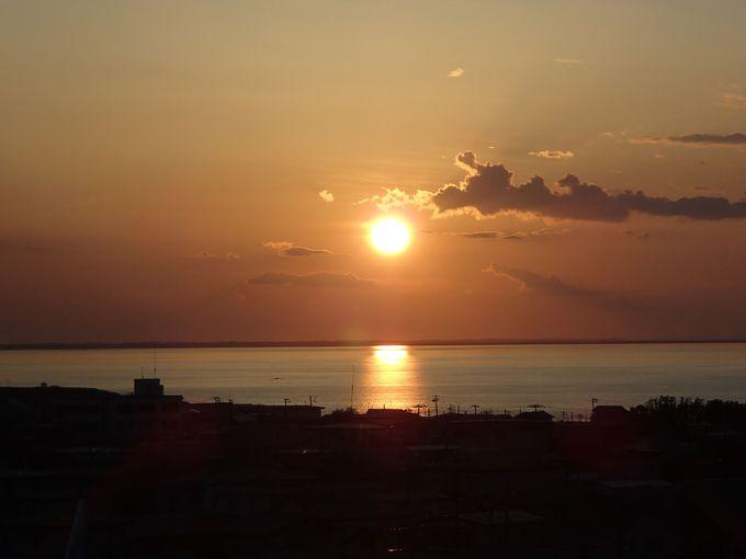 客室からの夕日が美しい