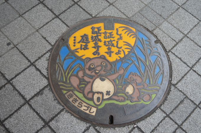 木更津駅のたぬきさん〜マンホールにもたぬきさんが〜