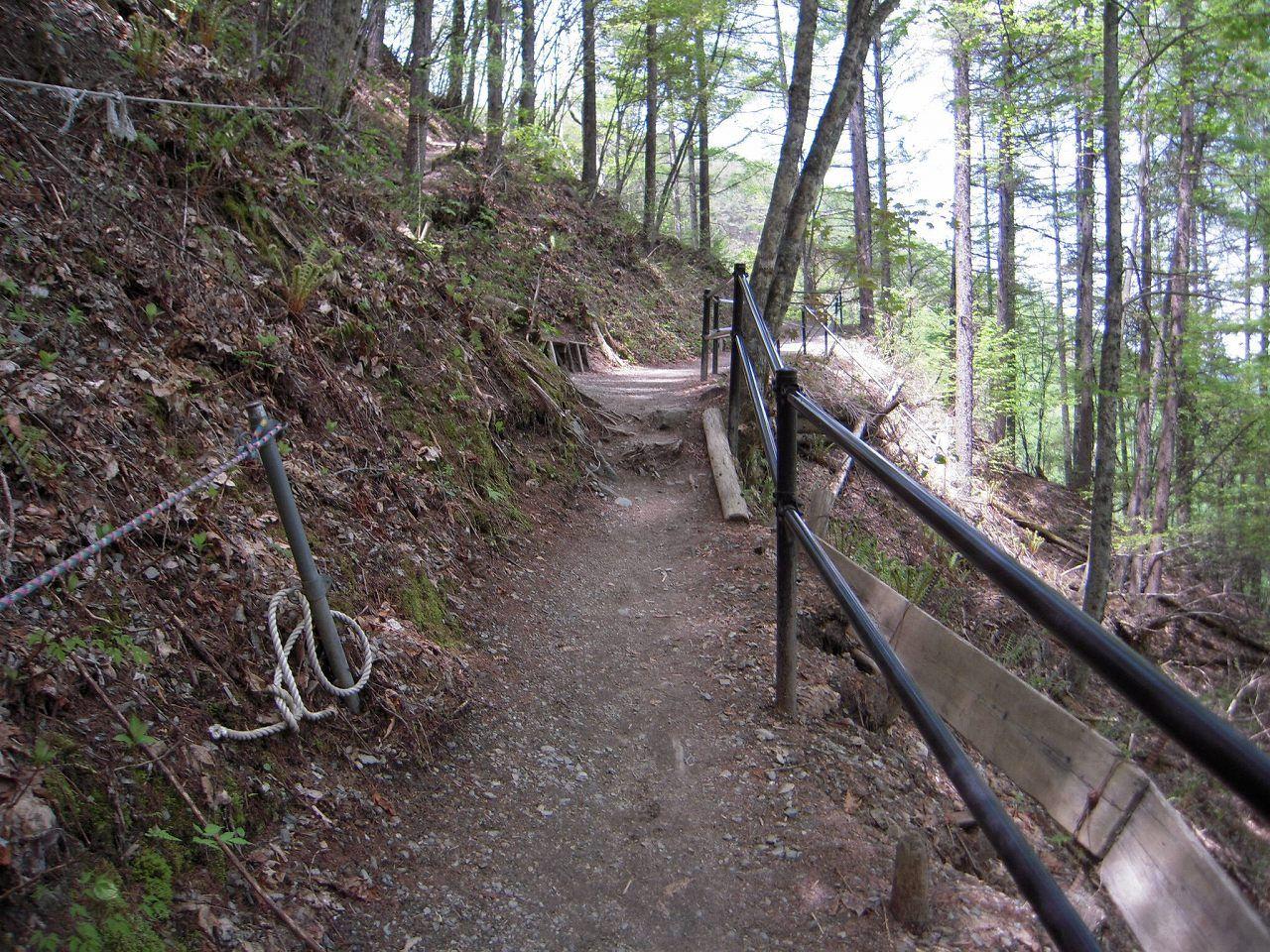 整備された急な坂道を100メートルほど下ると・・・