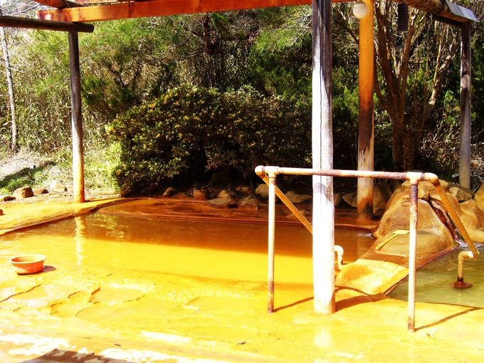 炭酸を含む温泉成分濃厚な混浴の露天風呂「加賀井温泉 一陽館」