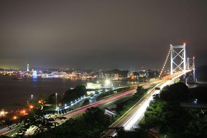 まずは関門橋のライトアップから