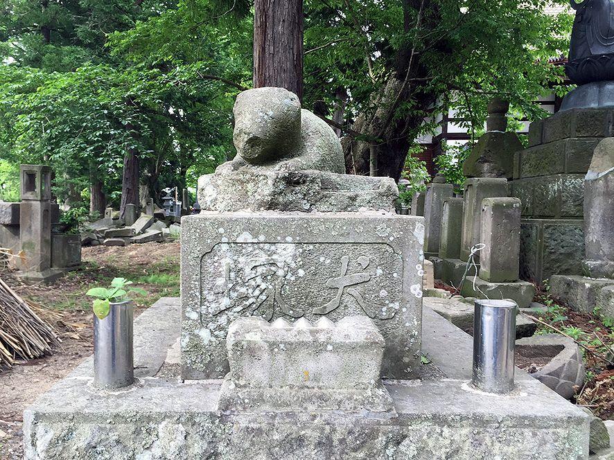 「シロ」の犬塚(墓碑)は十念寺の墓所内に残されています