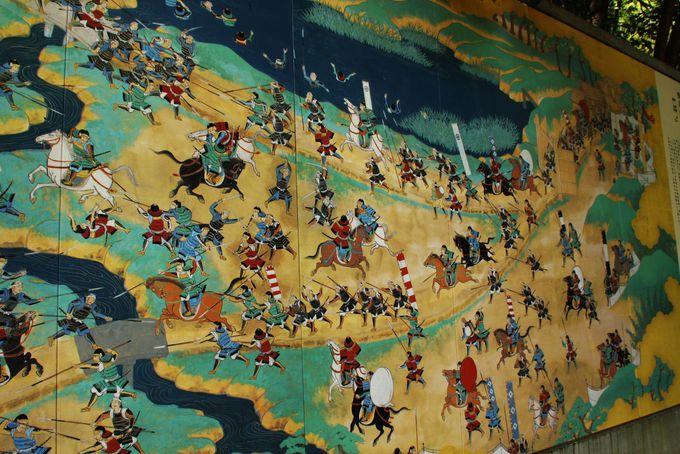 巨大な絵巻物風陶板で天下分け目の戦いを感じる