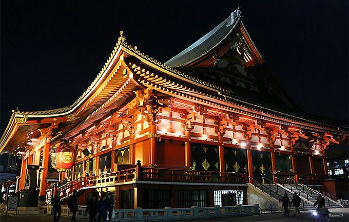 ライトアップされた「浅草寺」