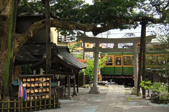 神社鳥居の目の前が踏切、長谷の御霊神社