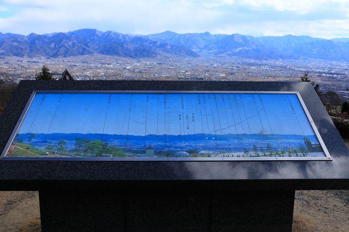 園内最上部は最高ステージ!日没後の甲府盆地を眺める