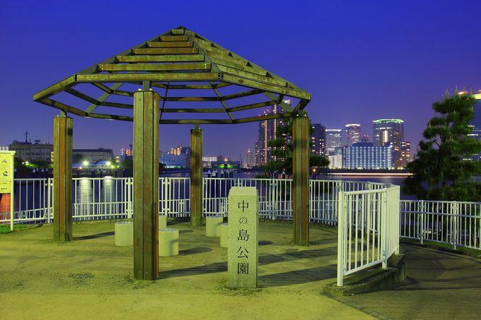 相生橋の中央部にひっそり佇む雰囲気抜群の「中の島公園」