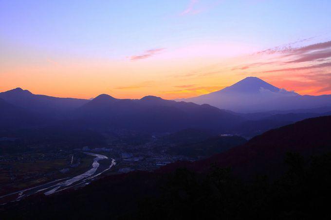 日没直後は夕焼け空を背景に富士山と酒匂川を観賞