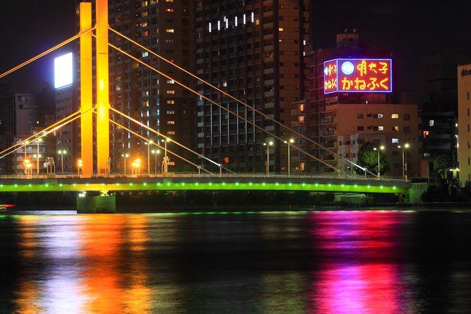 ワイヤー固定構造が斬新な「新大橋」