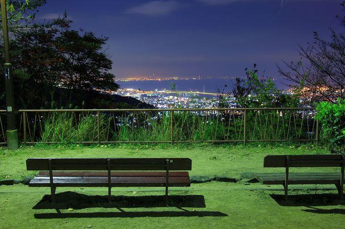渦森台の最上部から見る極上神戸夜景!「渦森展望台公園」