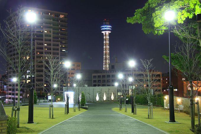 園内最南端出入口から見る園内とマリンタワー