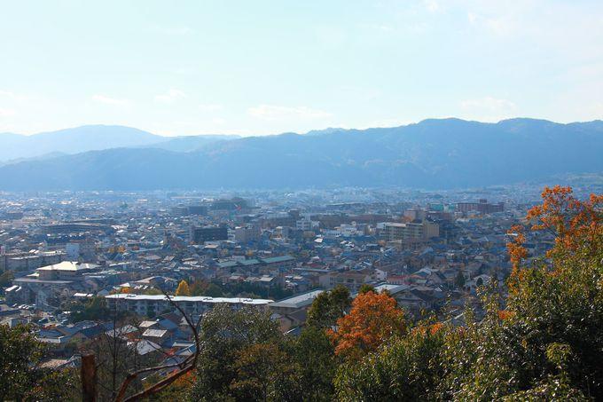 山頂の紅葉の木々の間から見ることができる嵐山方面