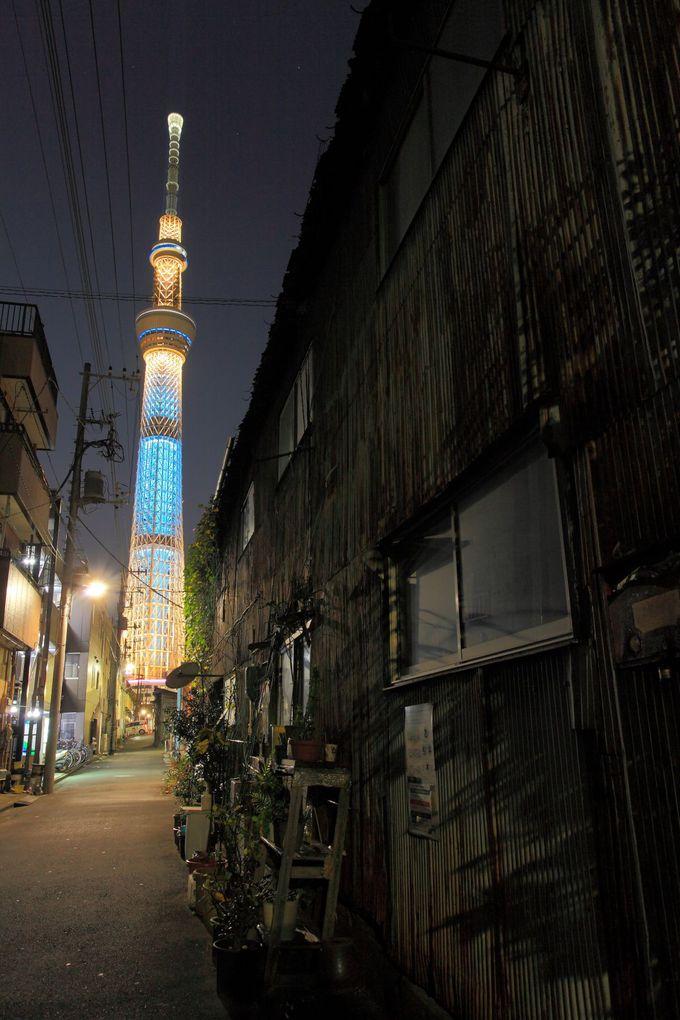 周辺の昭和風町工場とスカイツリーのコラボを楽しむ!