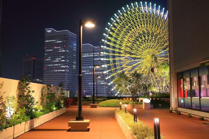 「横浜ワールドポーターズ」、「臨港線プロムナード」、「大桟橋客船ターミナル屋上」の俯瞰型夜景