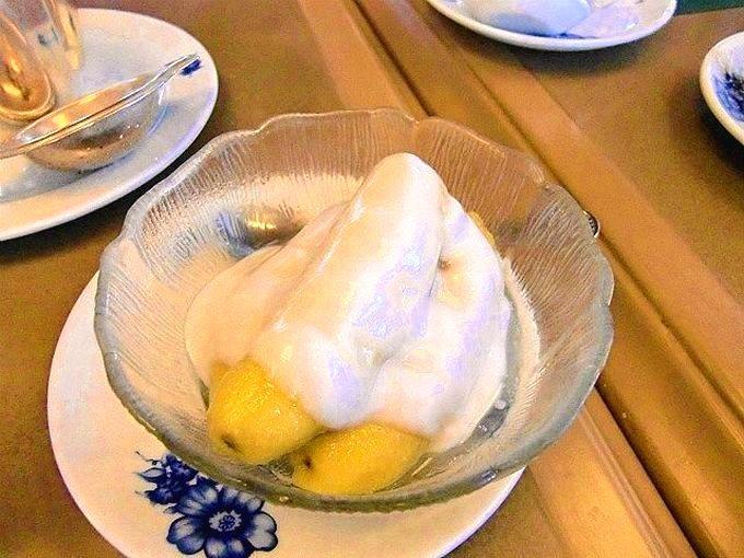 シメはすっきりした甘さのバナナのデザート!