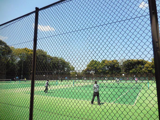 緑に囲まれたテニスコート・野球場・弓道場も併設