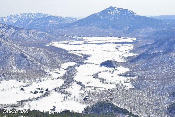 残雪期の尾瀬ヶ原の全景