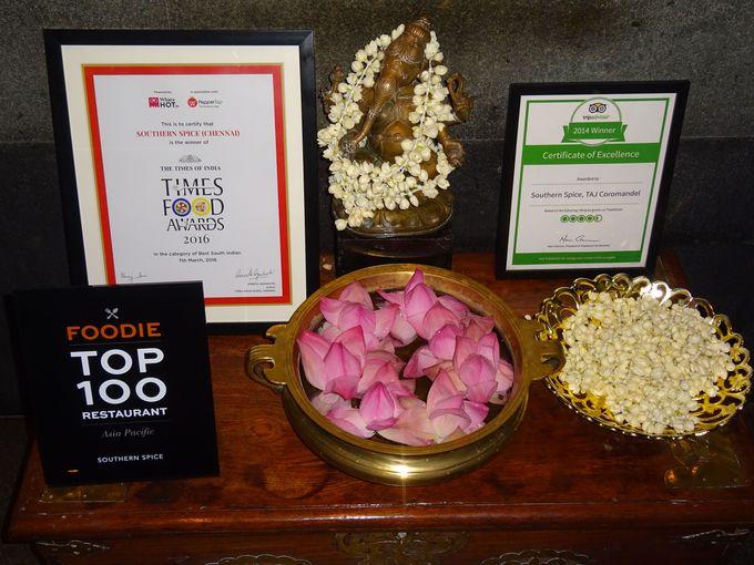 数々の賞を受賞している南インド料理の有名店