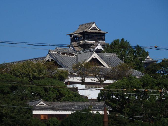 熊本城を眺める、周辺散策も楽しみのひとつ