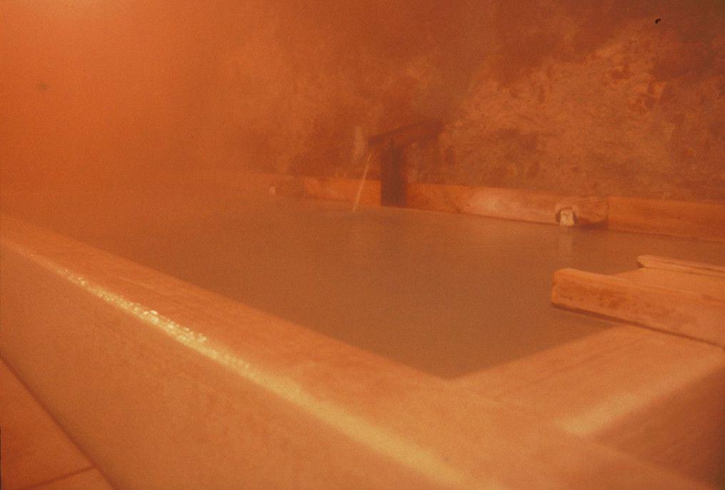岩肌から湧き出す源泉がそのまま湯船に・ての字屋「玉すだれの湯」