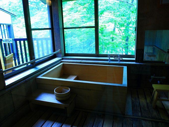 半露天風呂付きの薬師温泉旅籠「やすらぎ館」