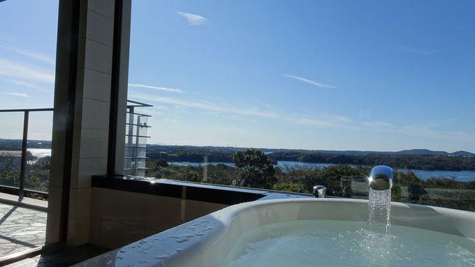 部屋のテラスや展望風呂から英虞湾の景色を楽しもう