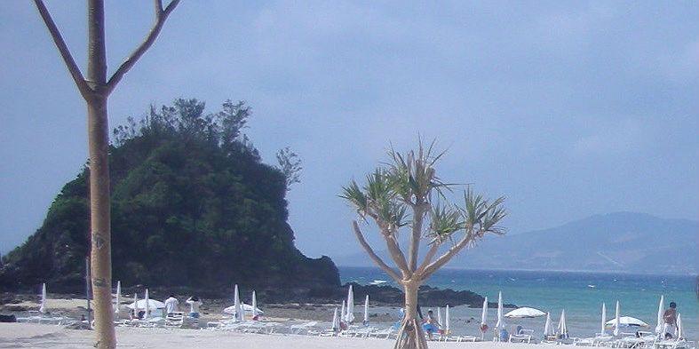 ビーチだけではなく磯遊びもできる小島の岩場もあり